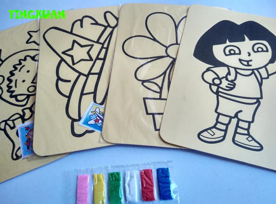 10 pz/lotto 15*20.5 cm 32 K Carte Hanno Regolato I Capretti con sfondo giallo Sabbia di Colore Arte Pittura Tavolo Da Disegno Educativo giocattoli(China (Mainland))