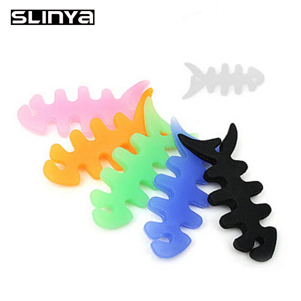 Coloful Fish Bone Soft Silicone Rubber Cable Winder(China (Mainland))