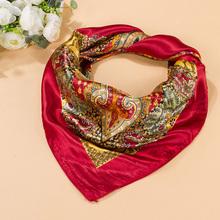 "Women Big Square Silk-like Satin Large Scarf Wrap 35""*35"" Printing Shawl  Hot Sale(China (Mainland))"