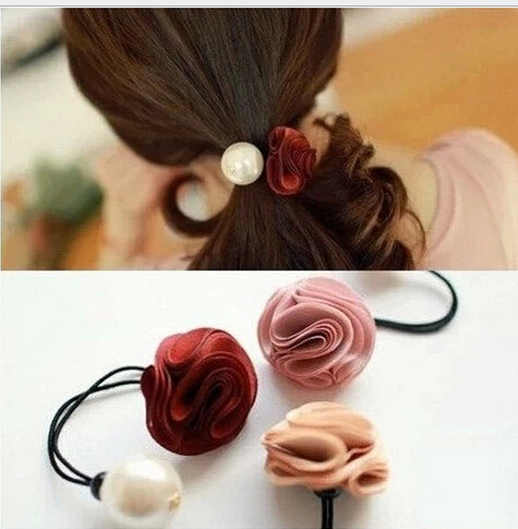 1pc Send Random flower imitated pearl elastic Headband Hair rubber for Women hair Accessories Hair Ornaments Free Shipping FD183(China (Mainland))