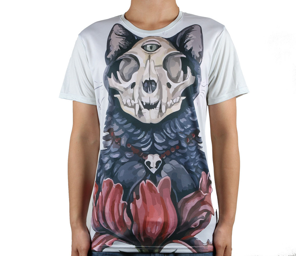 Logo Printing Wolf Skull T Shirts Plant Popular Hot Sale High Quality Male Tee Shirt Loose Short Sleeve(China (Mainland))