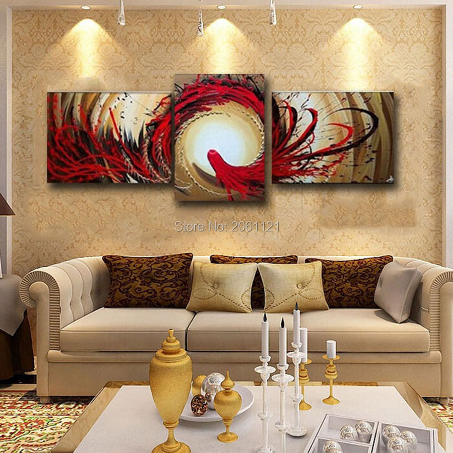 Top quality hand painted wall painting abstract red canvas oil picture 3 panels modern home decoration pieces free shippping(China (Mainland))