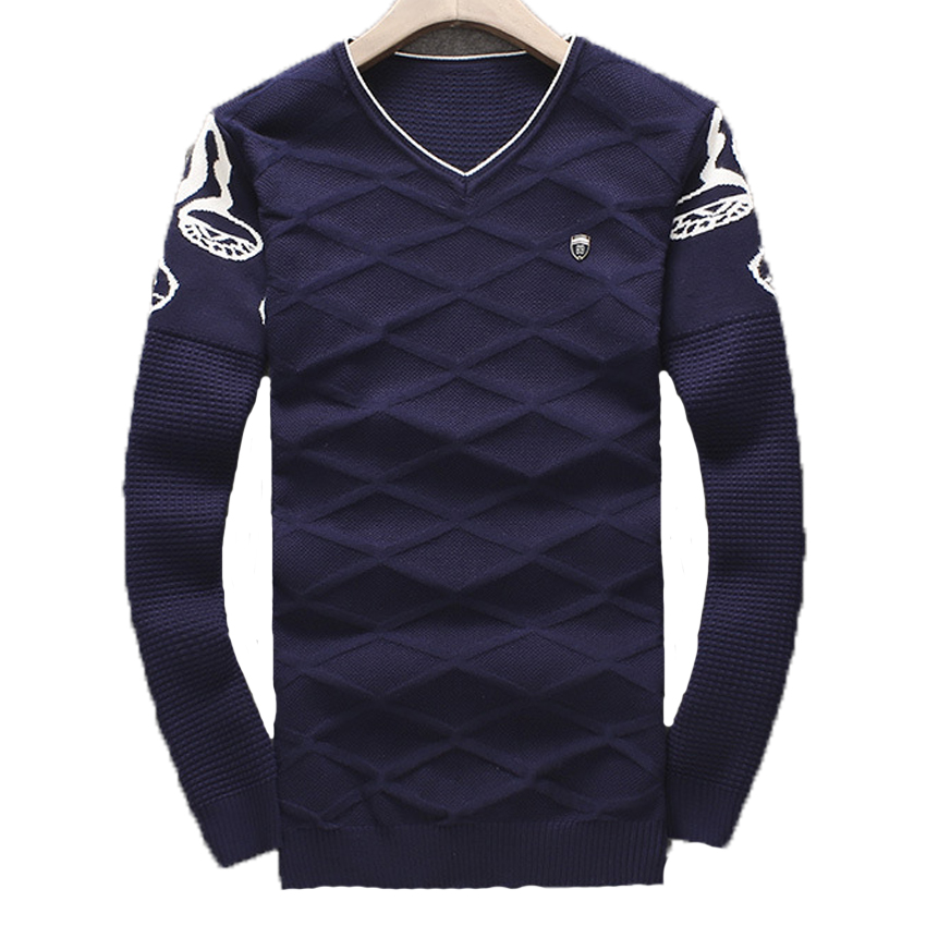 Free shipping Autumn's long sleeved men sweater collar sweater V male head thin sweater tide size M-2XL 67 XYQ(China (Mainland))