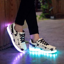 LED shoes men women stars Luminous Shoes Black White Led glowing Light up Shoes for Adults USB Rechargeable Led Light Shoes 090