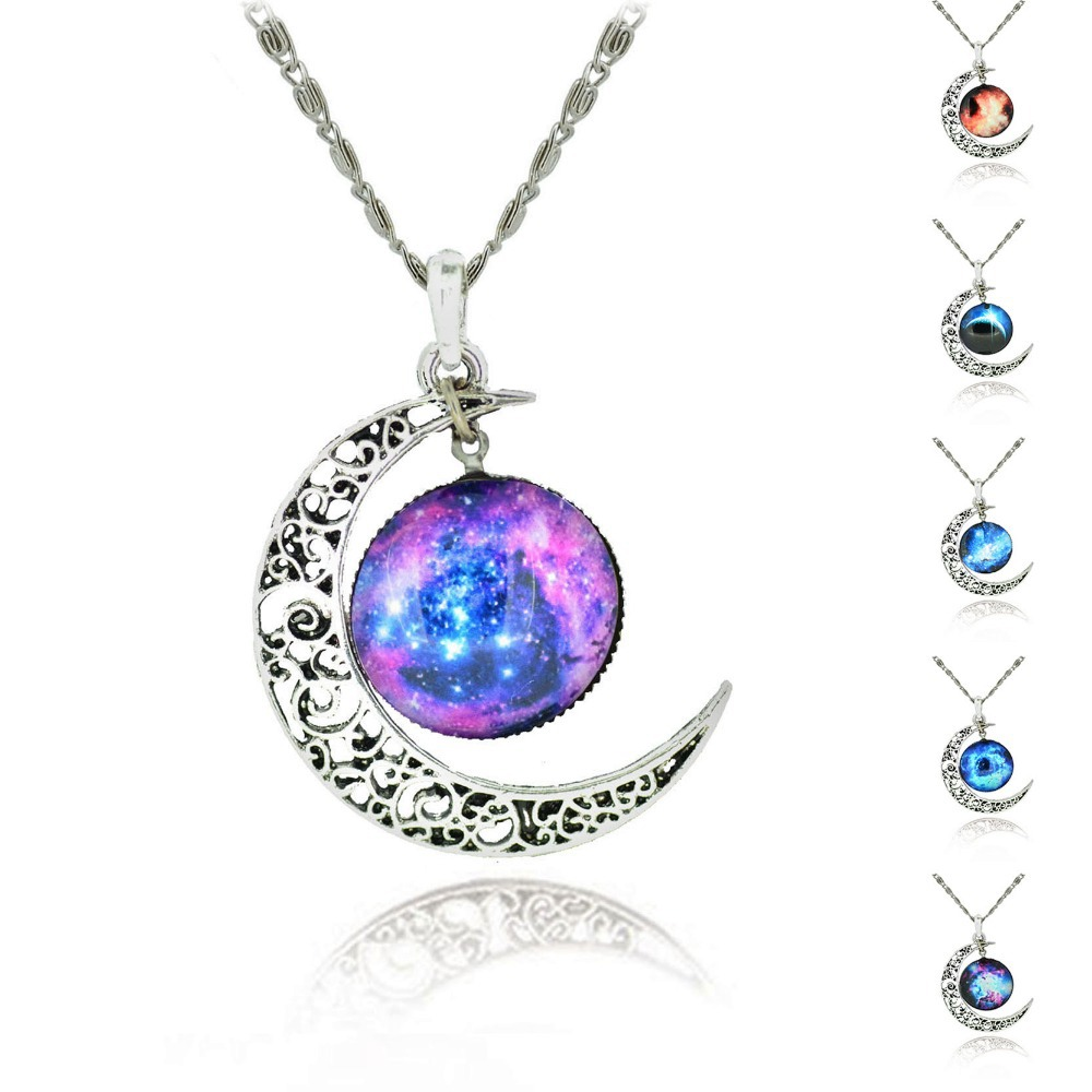 Brand Fashion Jewelry Choker Necklace Glass Galaxy Lovely Pendant Silver Chain Moon Sliver Pendant Necklace