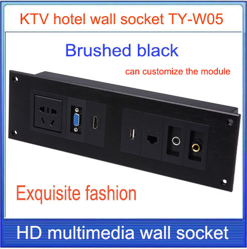 wall socket \ HD HDMI \ VGA USB NETWORK RJ45 Video information outlet panel /multimedia home hotel rooms KTV wall socket TY-W05(China (Mainland))