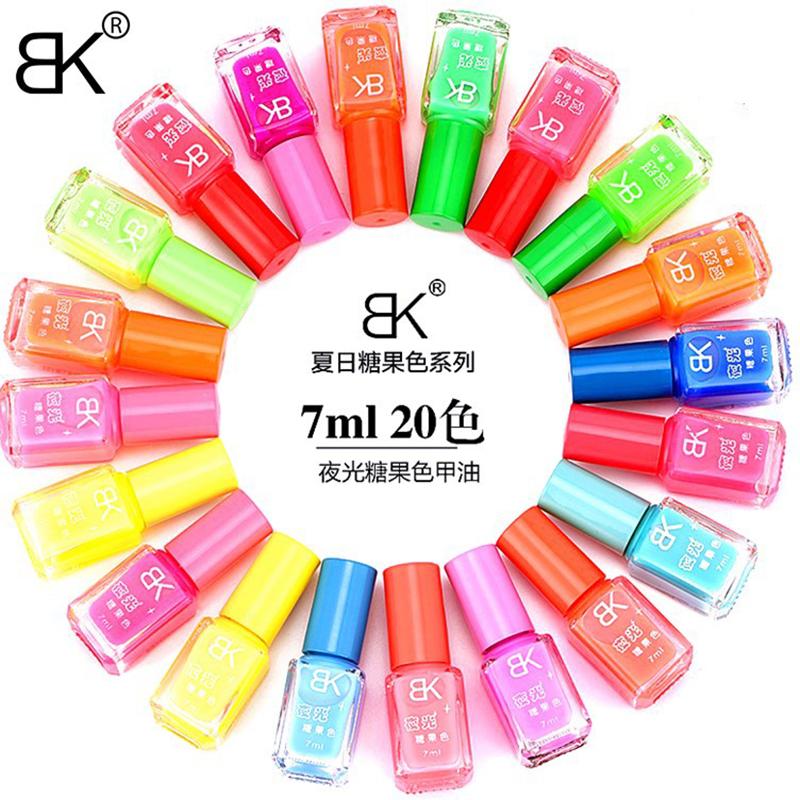 BK Brand Luminous Nail Polish Glow In The Dark Candy Color Shimmer Fluorescent Gloss Lacquer Varnish Art Nail Dry Naturally(China (Mainland))