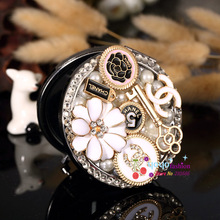 Laser engrave logo free,Mini makeup compact pocket mirror,wedding party bridesmaid girl gift,bling rhinestone crystal flower(China (Mainland))