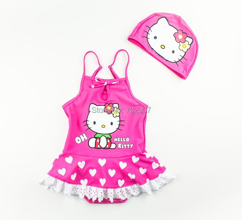 baby girl Printing hello kitty swimwear girl's swimwear+swim cap sets 5set/lot GS013