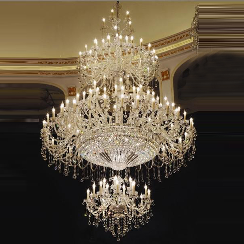 High Traditional Large Crystal Chandelier Great Room