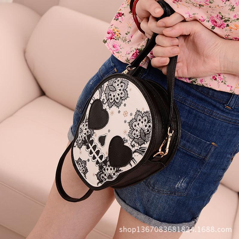 New Bags Women Skull Head Shoulder Crossbody Small Personalized Messenger Bag Handbag Hight Quality Vintage Cute Style 2016(China (Mainland))
