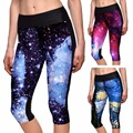 4 Galaxy Pattern Women Yoga Pants Female Sports Cropped Trousers Capri Leggings High Elastic Fitness Capri