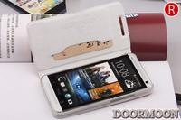 NEW Fashion Flip Leather Double Dip Style Phone Case Cover for HTC ONE M7 802W 802T 802D Dual SIM Cards + Screen Protector
