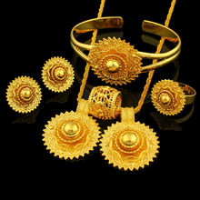 Ethiopian Wedding Bridal Jewelry Sets 24K Gold Plated Necklace/Earring/Ring/Bangle/Pendant Jewelry African/Nigeria/Arab Items(China (Mainland))