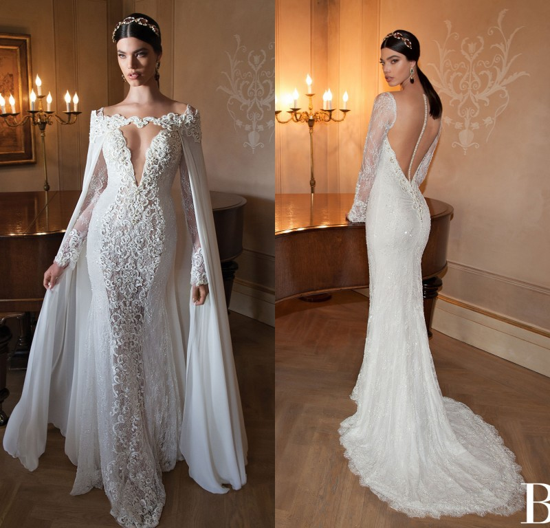 2015 berta bridal gown long sleeve mermaid lace sexy for Lace sleeve backless wedding dress