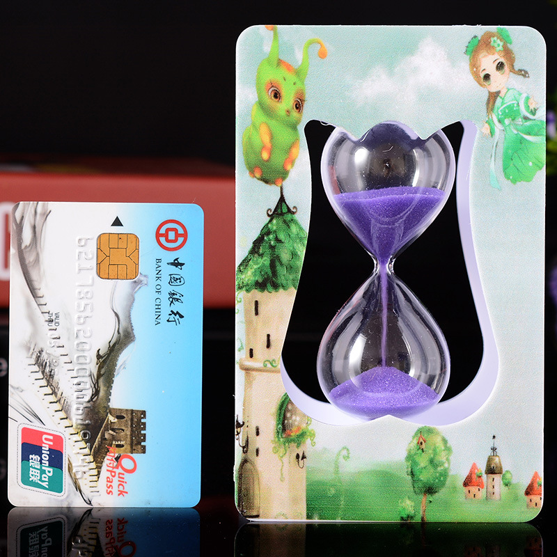 W1 luminous hourglass sand glass plastic box one minute Teacher's Day gift wholesale hot students(China (Mainland))