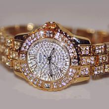 2016 Novas Mulheres Da Moda Relógios, Mulheres Rhinestone Relógios de alta Qualidade do Diamante Austríaco, Rose Mulher de Ouro Senhora Relógio de Vestido Relógios