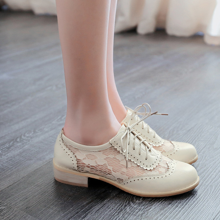 New fashion women shoes medium heel shoes lace up oxford shoes women zapatos mujer spring summer casual ladies shoes plus size(China (Mainland))
