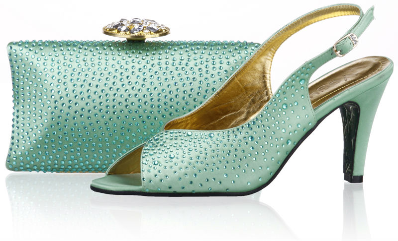 Light Green Italian Shoes And Matching Bagshigh Heel Women Wedding/party Pumps Free Shipping By ...