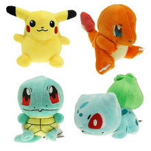 4PCS/lot Pokemon Game toy plush Toy Pikachu & Squirtle & Charmander & Bulbasaur stuffed animals & plush(China (Mainland))