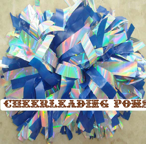 "cheerleading Pom poms 3/4""x 6""~custom color metallic holographic and plastic royal blue mini order 10 pieces(China (Mainland))"