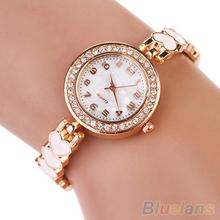 Moda del amor del corazón de gamuza pulsera de cuarzo analógico brazalete mujeres del reloj 2DYX