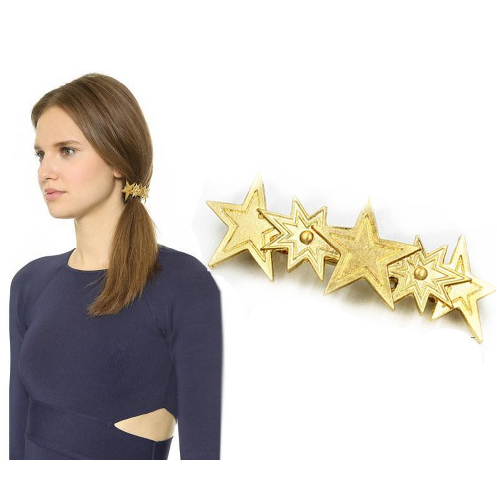 Hot Sale 2015 New Fashion Jewelry for Women Hair Barrettes Three stars Gold Hair Clip Accessaries head jewelry CF126(China (Mainland))