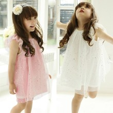 Baby Kid Girls Sleeveless One Piece Gauze Sequins Dress Party Tutu Dress(China (Mainland))