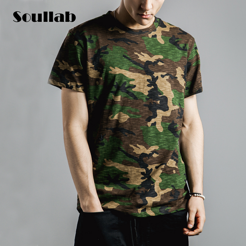High quality cotton mens male top tees skateboard t shirt cool t-shirt streetwear camo camouflage military army clothing clothes(China (Mainland))