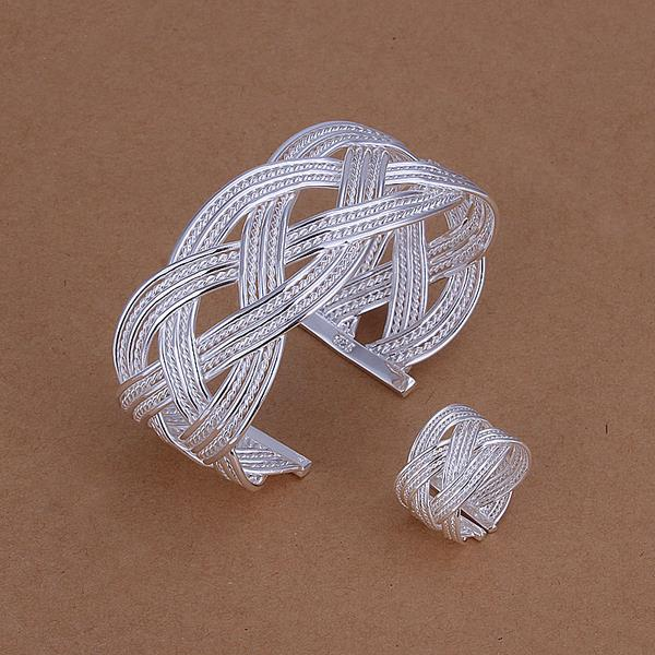 Manufacturer supply silver bangles and ring set, cheap indian jewelry sets free shipping LKNSPCS284(China (Mainland))