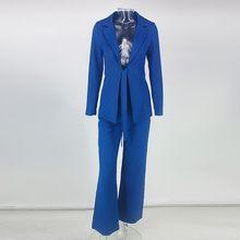 Santune Sash Sexy mujer traje de dos piezas manga completa Top + recto pierna ancha bodycon traje de cintura alta Turn Down collar de 2 piezas conjunto(China)