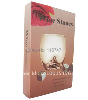 Christmas gift FREE by DHL! Whisky stones in delcate gift box, 100sets/lot, wine sipping stone ice rocks, Valentine Father's Day
