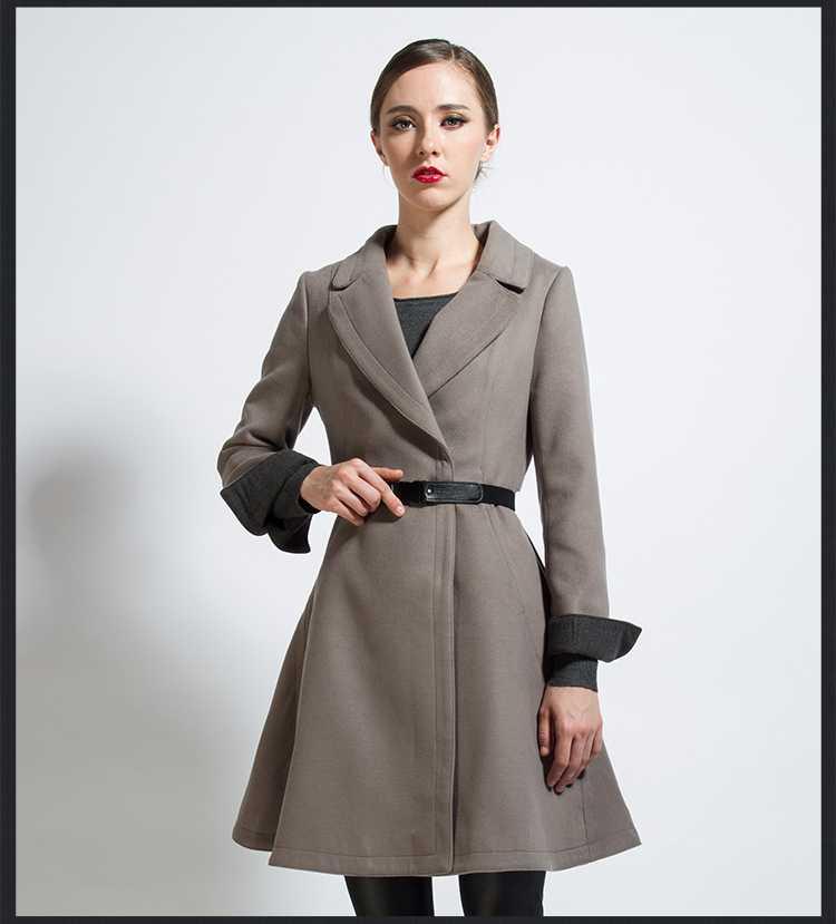 2015 New Autumn Winter Womens Wool Cashmere Coat Slim Long Winter Coat Plus Size Turn Down Collar Woolen Coat Outwear H5190(China (Mainland))