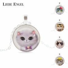 Buy LIEBE ENGEL Cute Cat Silver Color Jewelry Classic Glass Cabochon Statement Necklace&Pendants Fashion Collares Fine Jewelry Women for $1.35 in AliExpress store