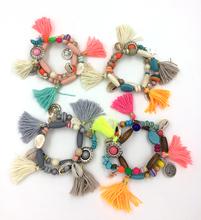 2016 Bohemia ethnic jewelry friendship bracelet vintage tassel charm bracelet  rosary beads bangle Charm Seed Bead Bracelets(China (Mainland))