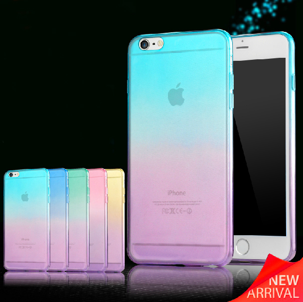 Fashion Gradient TPU Clear Transparent For Apple Iphone 6 case 4.7 inch Back Cover Skin Protective Phone Cases(China (Mainland))
