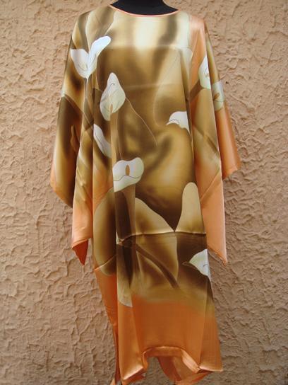 Orange Painting Chinese Women's Silk Robe Bath Gown Nightgown Yukata Flower One Size Free Shipping S4015(China (Mainland))
