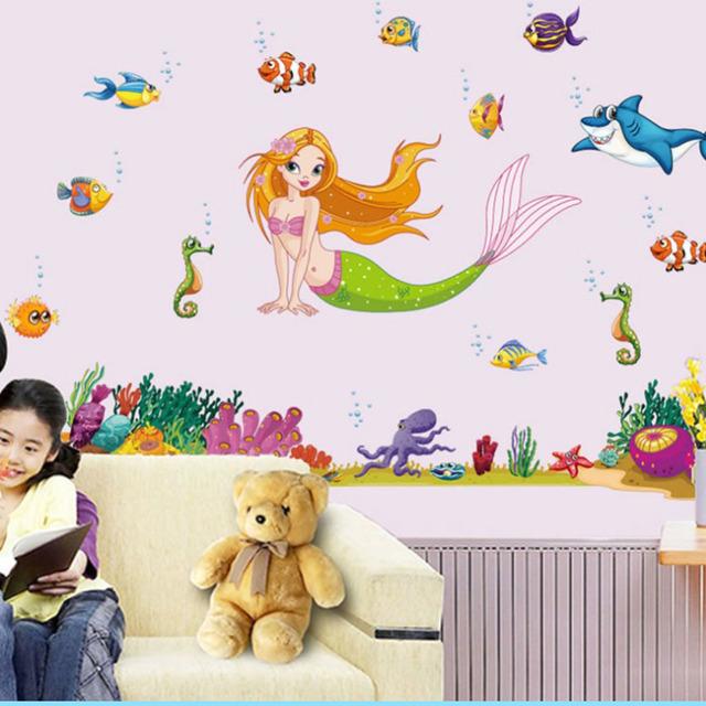 140 * 95 см мультфильм русалка наклейки домашнего декора ванной DIY сайт животных обои съемный детские kdis искусства X013