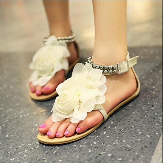 Bohemia 2015 Plus Size 34-47 Summer Sandals Female sweet  Beaded Flower  Flip-flop flats Womens Shoes Fashion chaussures<br><br>Aliexpress