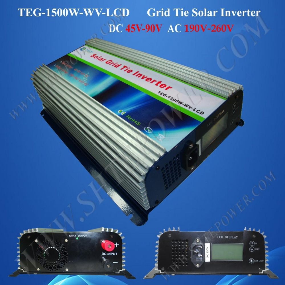 micro solar power inverter 1500w pv grid tie inverter dc 48v to ac 220v with lcd display(China (Mainland))