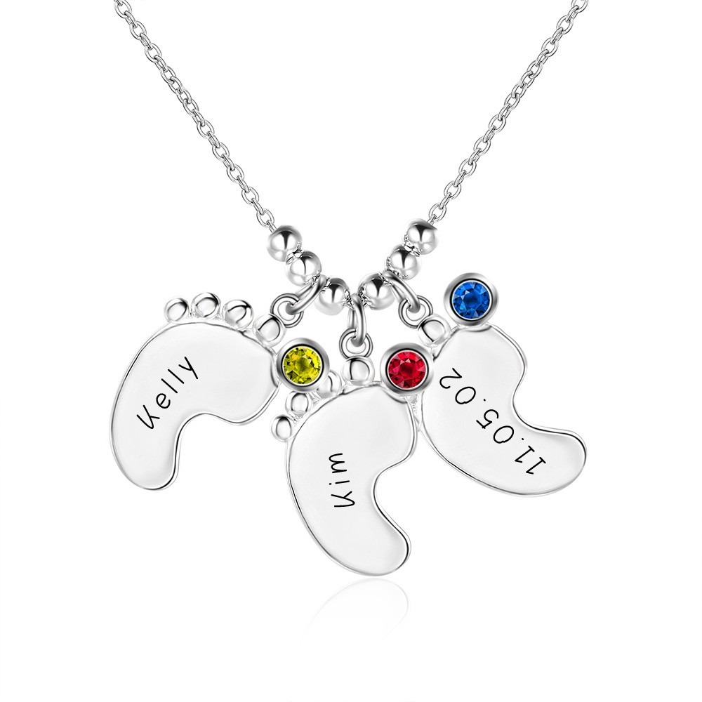Подарочные 925 Серебряной Гравировкой Детские Ноги Кулон Ожерелье с Персонализированные Камень На Заказ С Любым Именем