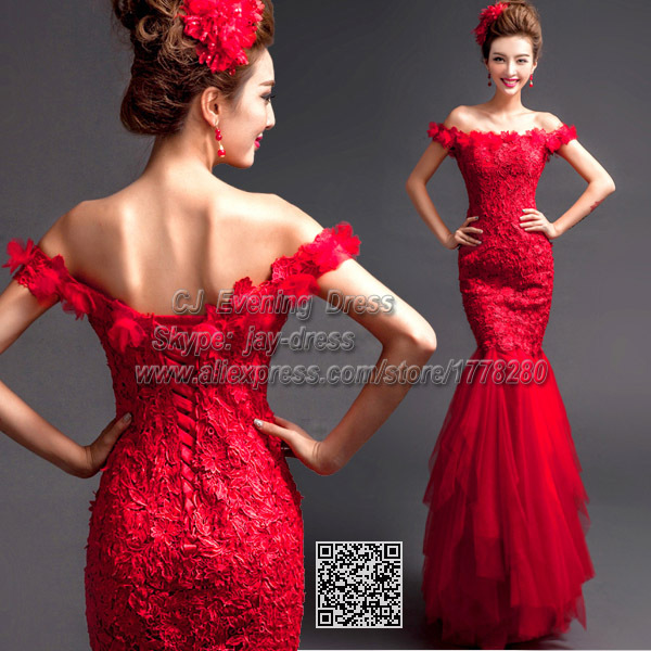 marsala long flower applique vintage special occasion dresses burgundy gowns unique formal oriental red fishtail evening dress(China (Mainland))