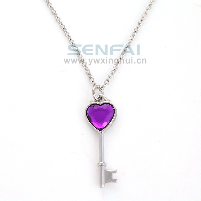 Mexican Amethyst Love Heart Key Charm Pendant Necklace,Creative Hand Stamped Silver Corrente de Prata Necklaces Perfumes Jewelry(China (Mainland))