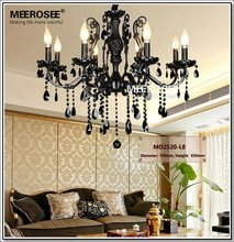 HOT! French Style Crystal Chandelier Lighting Fixture 8 lights Vintage Black Wrought Iron Chandelier Suspension Hanging Light(China (Mainland))