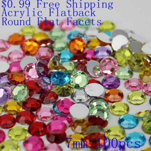 Round Flat Facets $0.99 7mm 100pcs Acrylic Flat Back Beads Many Colors Nail Art Rhinestone Nail Art Decorate DIY(Hong Kong)