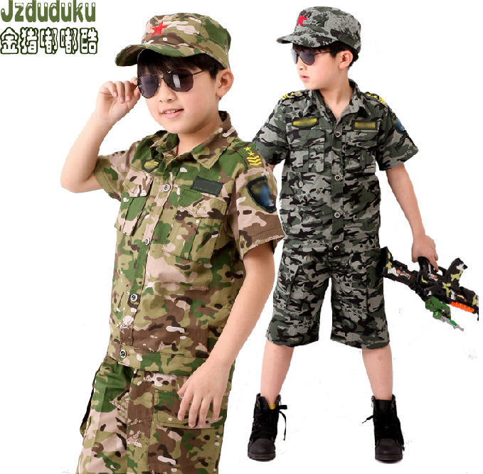 2014 Summer Childrens Sets Boys Camouflage Suit Military Style Clothes Set Short Sleeve Shirt+Shorts Age 2-9 Free Shipping Q649<br><br>Aliexpress