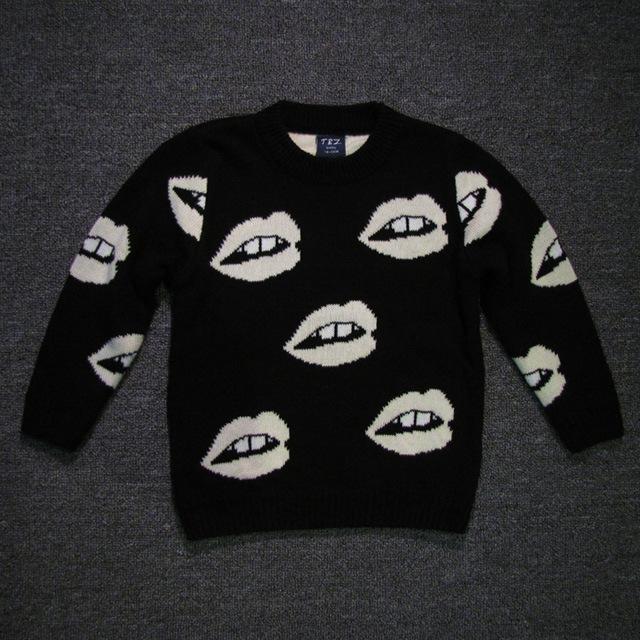Зимой свитер ребенка девушки парни черные белые губы трикотажные осень кардиган ребенок ...