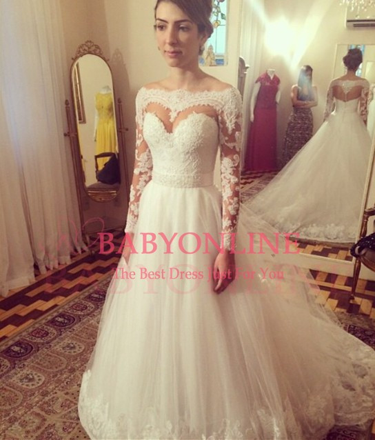 2015 Long Sleeve Slit Neckline Bride Wedding Dress Princess Puff Gown Strap Lace Wedding Dresses 2015 White Backless White Ivory(China (Mainland))