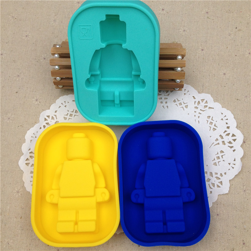 DIY Fondant Cake Decorating Tools 100% Foodgrade Silicone Lego Mold Super Big Robot Lego Cake Mold Ice Mold Baking Pan D897(China (Mainland))