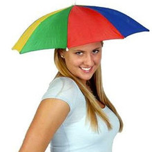 Portable Fishing Camping beach Umbrella Hat  Multicolor Cap Sun Rain Umbrella(China (Mainland))